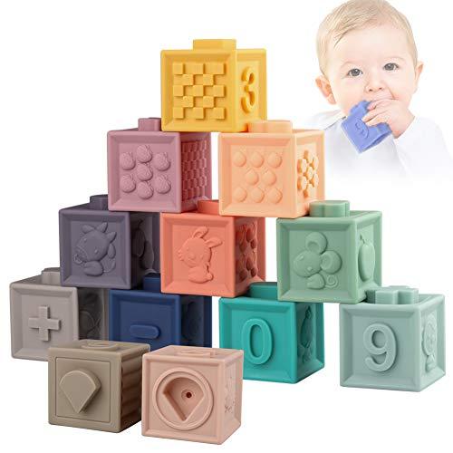Sunarrive Weich Baby Bausteine - Motorikspielzeug Stapelwürfel Bauklötze - Babyspielzeug Stapelspiel - Montessori Sensorik Spielzeug Beißring Badespielzeug für...