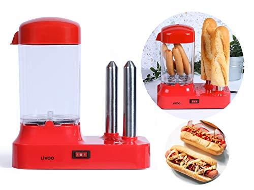 Hot Dog Maker für 6 Würstchen - Hot-Dog Maschine mit abnehmbaren Wärmebehälter - Würstchenwärmer mit Edelstahlspieße zur Brötchen Erwärmung