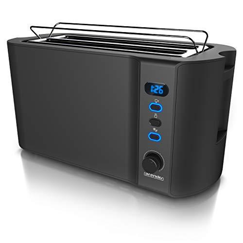 Arendo - Edelstahl Toaster Langschlitz 4 Scheiben - Defrost Funktion - wärmeisolierendes Gehäuse - mit integrierten Brötchenaufsatz - Krümelschublade - Display...