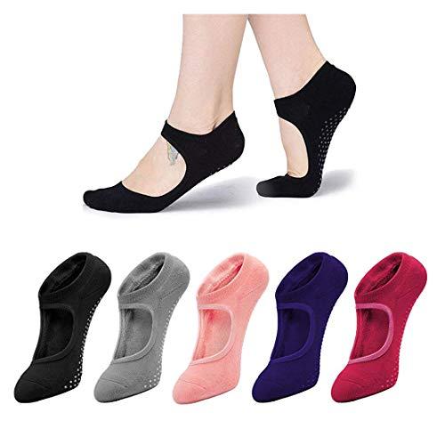 Sfigur Damen Yoga Socken Set - 5 Paare Schwarz Grau Purple Orange und Rosa bunte Farben Pilates rutschfeste Joga Socke Sneaker Sportsocken für Damen und Herren