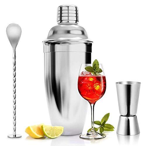 ASANMU Cocktailshaker Set, 750ML Cocktail Shaker Edelstahl Professioneller Cocktailmixer Bar Cocktailset Kit mit Messbecher und Barlöffel, Premium Bar Shaker Set...