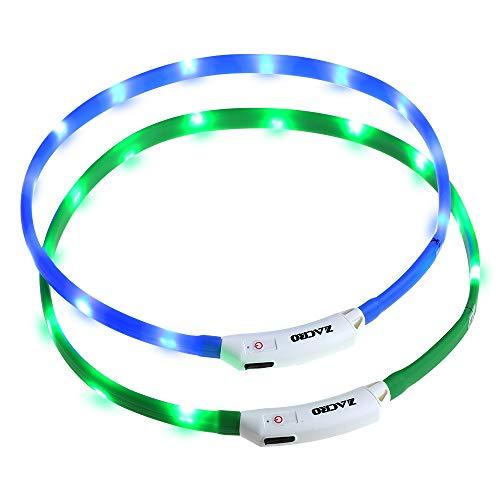 Zacro leuchthalsband Hund 2 Stück hundehalsband Leuchtend USB Wiederaufladbares und Längenverstellbareres Hunde Halsband mit DREI Beleuchtungsmodi für Hunde und...
