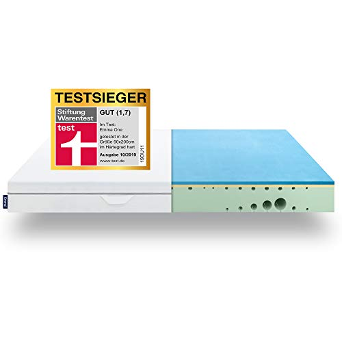 EMMA One mattress TESTSIEGER Stiftung Warentest 10/2019 - lying feeling hard - 90x200 cm, 7 zones mattress visco foam - breathable - Oeko Tex certified - ...