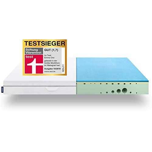 EMMA One Matratze TESTSIEGER Stiftung Warentest 10/2019 - Liegegefühl Hart - 90x200 cm, 7 Zonen Matratze Visco-Schaum - atmungsaktiv - Öko Tex Zertifiziert -...
