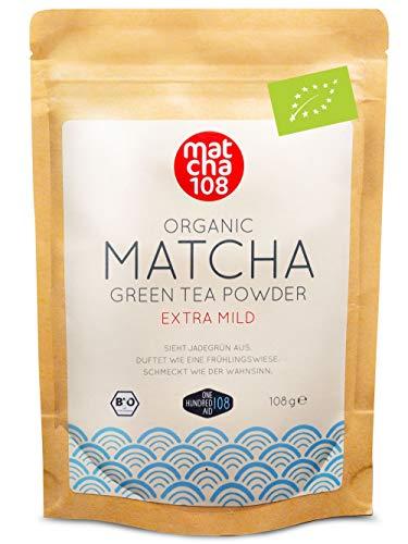 Matcha Tee Pulver | Bio Zeremonie Qualität für extra milden Teegenuss | Ideal für Tee, Smoothies und Lattes | 108g, DE-ÖKO-039 Zertifiziert, [Ceremonial Grade...