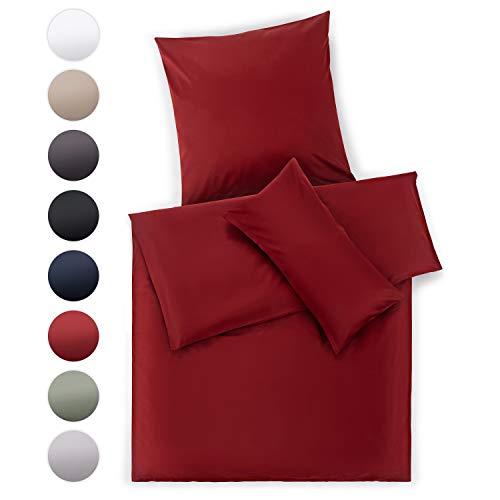 Blumtal Mako Satin Bettwäsche 135 x 200 cm mit Kissenbezug 80x80 cm - 100% Baumwolle, Superweiches Bettbezug Set, Aurora Red