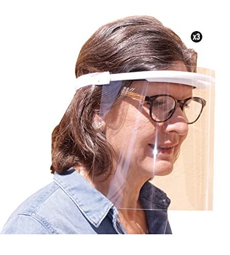 KMINA PRO - Visier Gesichtsschutz (3 Stück), Visier, Gesichtsschutz, Visier Gesichtsschutz für Brille, Schutz Gesicht, Face Shield, Schutzvisier Gesicht,...