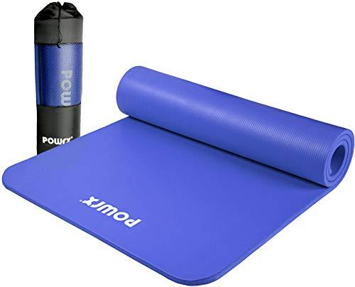 POWRX Gymnastikmatte Premium inkl. Trageband + Tasche + Übungsposter GRATIS I Hautfreundliche Fitnessmatte Phthalatfrei 190 x 60, 80 oder 100 x 1.5 cm (Dunkelblau,...