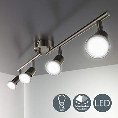 LED Deckenleuchte Schwenkbar Inkl. 4 x 3W Leuchtmittel GU10 IP20 LED Strahler Deckenlampe Spots Wohnzimmerlampe Deckenspot LED Deckenstrahler Warmweiss Metall Matt...