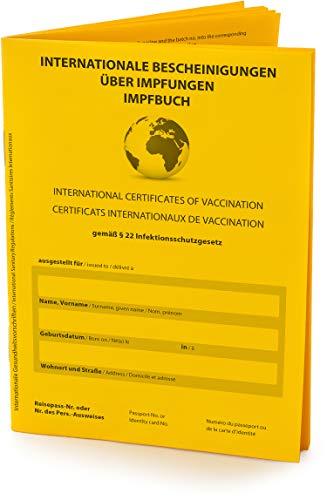 Hochwertiger Internationaler Impfpass, Impfausweis (Vers. 2021, 32 Seiten) nach offiziellen Vorgaben auf stabilem Papier, Impfbuch mit fest eingebundenem...