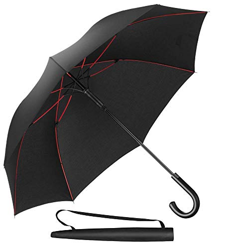 Newdora Umbrella Windproof Manual Closure Black Fiberglass Ribs Golf Umbrella Lightweight Extra Large 210T Waterproof Folding Umbrella Men ...