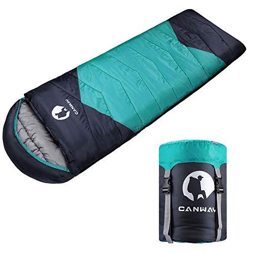 CANWAY Schlafsack Schlafsäcke Mumienschlafsack aus Baumwolle als Füllstoff wasserabweisend für Camping Indoor Outdoor Erwachsene im Winter 1,9KG (Cyan-Polyester)