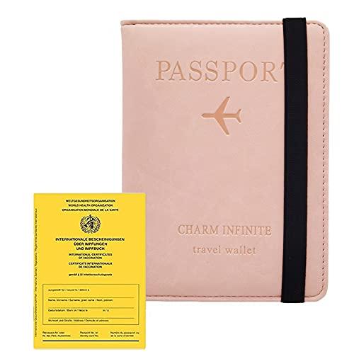Impfpass Hülle Reisepasshülle (2021), Kunstleder Passhülle mit RFID-Blocker, Schutzhülle Tasche für Kreditkarten Damen Herren Reisepass Geschenk...