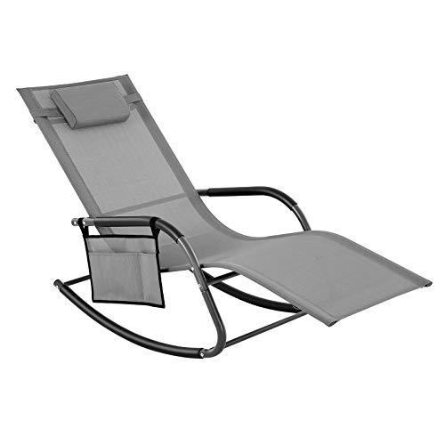 SONGMICS Sonneninsel, Gartenstuhl, Sonnenliege, Schaukelstuhl mit Kopfstütze und Seitentasche, Eisengestell, Kunstfasergewebe, atmungsaktiv, komfortabel, bis 150 kg...
