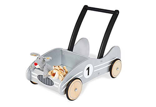 Pinolino walker Kimi, made of wood, with brake system, baby walker with rubberized wooden wheels, for children from 1 - 6 years, silver