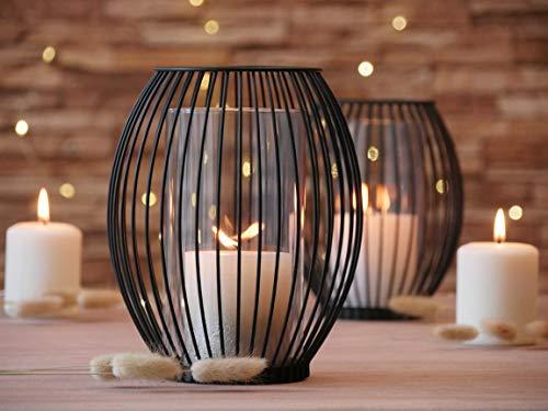 Azra Home Zeitloser Kerzenständer mit Glas 2er Set, 17x19,5cm und 14,5x17cm, Kerzenhalter, Kreativ Vintage Deko, Metall Deko Kerzenleuchter, Windlicht Glas,...