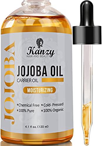 Kanzy Jojobaöl Bio Kaltgepresst 100% Rein Gold 120ml für Haut Haare Nägel Gesichtsöl Körperöl Vegan Hexanfreies Bio Jojoba öl Anti-Aging Anti-Falten...