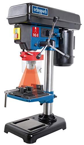 Scheppach Tischbohrmaschine DP16VL mit Schraubstock (500 W, Stahl-Konstruktion, 5 Geschwindigkeiten, Bohrfutter Spannbereich: 16mm, integrierter Laser, inkl....