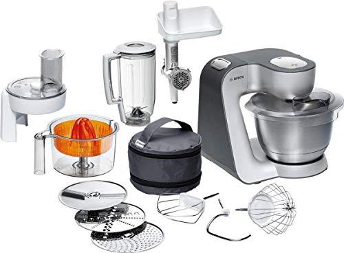 Bosch MUM5 Styline Küchenmaschine MUM56340, vielseitig einsetzbar, große Edelstahl-Schüssel (3,9l), Durchlaufschnitzler, Mixer, Zitruspresse, Fleischwolf, 900 W,...