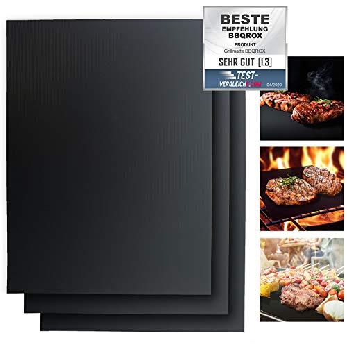 BLACKROX Grillmatten BBQROX Vergleichssieger Antihaft Grill Backmatte Wiederverwendbar Mehrweg Holzkohlegrill, Gasgrills Elektrogrill, Weber Style für Fleisch,...