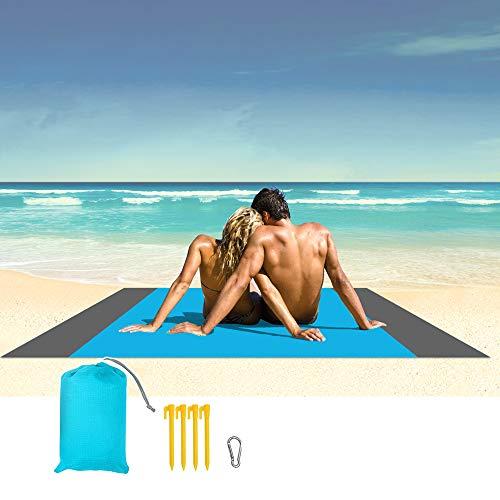 HOPAI Picknickdecke Stranddecke Wasserdicht 200x210cm / 240X270cm Sandabweisende Campingdecke 4 Befestigung Ecken Picknick/Strand Matte für den Strand, Campen,...