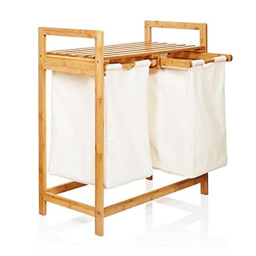 Lumaland Wäschekorb aus Bambus, mit 2 ausziehbaren Wäschesäcken, ca. 73 x 64 x 33 cm Beige