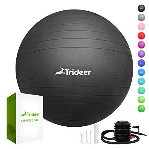 Trideer Dicker Anti-Burst Gymnastikball inkl Ballpumpe, Robuster 700kg Maximalbelastbarkeit Sitzball Pilates Ball Yoga Ball als Fitness Kleingeräte und Balance...