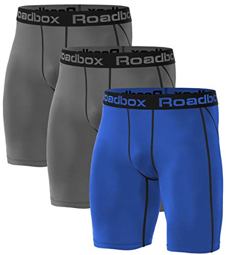 Roadbox 3er Pack Men's Compression Shorts, Quick-Drying Baselayer Underpants Tights Shorts Running Underwear S 3er Pack: Gray, Gray, Blue