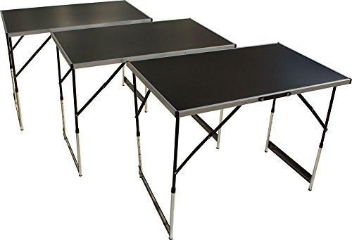 Multifunktionstisch 3teilig, Tapeziertisch und Arbeitstisch mit 30kg Tragkraft, (100 x 60 cm), Campingtisch, höhenverstellbares Stahlgestell, klappbar mit...