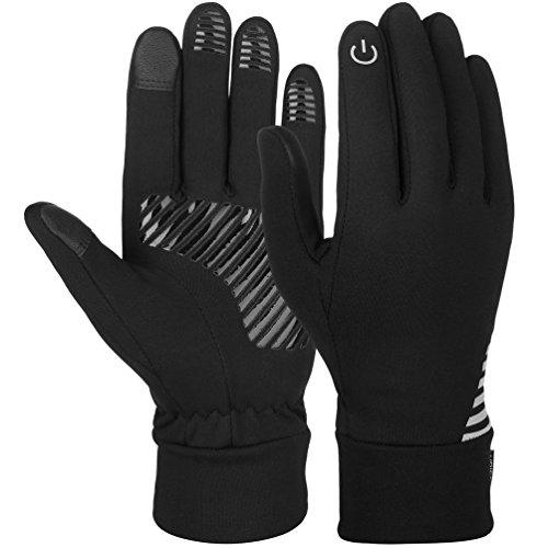 Vbiger Men's Gloves Touchscreen Gloves SMS Gloves Running Gloves Sports Gloves for Winter, Black-1, L