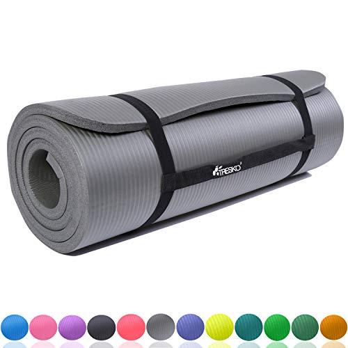 TRESKO Fitnessmatte Yogamatte Pilatesmatte Gymnastikmatte 6 Farben/Maße 185cm x 60cm in 2 Stärken/Phthalates-getestet/NBR Schaumstoff/hautfreundlich,...