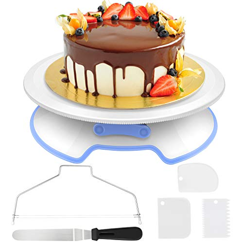 AimTop Cake Plate Rotatable Cake Stand Cake Turntable Cake Decorating Turntable with 1 Piece Angle Palette Set, 3 Pieces Icing Smoother, for Baking Pastry, ...