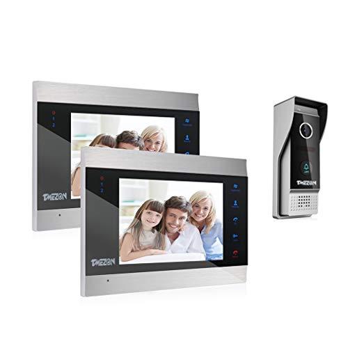 TMEZON Video Türsprechanlage Türklingel Intercom System, Türsprechanlage mit 7 Zoll 2-Monitor 1-Kamera Für 1-Familienhaus, Touch-Taste, Nachtsicht,...