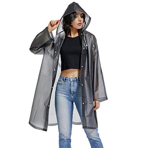 UNIQUEBELLA Regenmantel Eva Travel Transparent Regenponcho Regen Zubehör für Damen und Herren Regenbekleidung Regencape Regenjacke Wasserdicht für Wandern...
