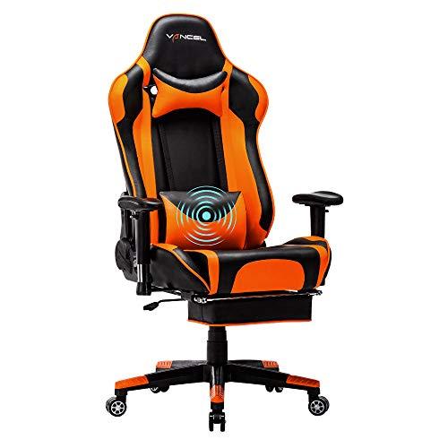 EVANCEL Gaming Stuhl Racing Computer Schreibtischstuhl Ergonomisches Design mit Breiten Rückenkissen, ausziehbahre Fußlehne in Taillenbereich (Orange-1)