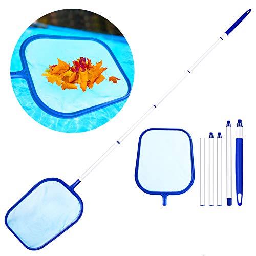 Familybox Pool Kescher, Verbessertes Pool Skimmer/Poolkescher mit 1.2M Drehstange Teleskopstange Schwimmbad Kescher PoolReinigung Fein Maschennetz Set für Spas,...