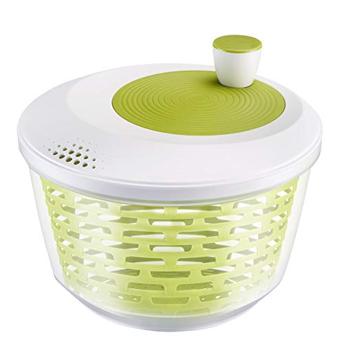 Westmark Salatschleuder, Fassungsvermögen: 4,4 Liter, ø 23,5 cm, Kunststoff, BPA-frei, Spinderella, Farbe: Transparent/Weiß/Grün, 2430224A