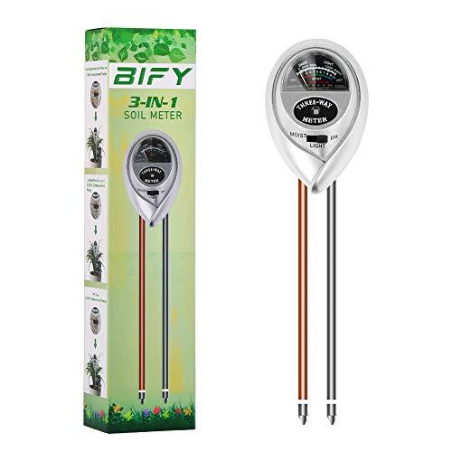 BIFY Bodentester,3 in 1 Bodentester für Feuchtigkeit/Sonnenlicht/pH-Tester,Boden-Feuchtigkeitsmessgerät für Pflanzenerde, Garten, Bauernhof, Rasen(Nur für Boden)...