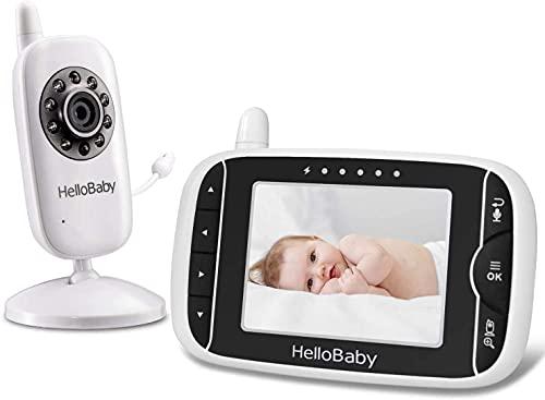 Video Babyphone mit Kamera und Audio, Halten Babys Kinderzimmer mit Nachtsicht,Rücksprache Funktion,Raumtemperatur,Schlaflieder,960ft/292,6 Meter Reichweite und...