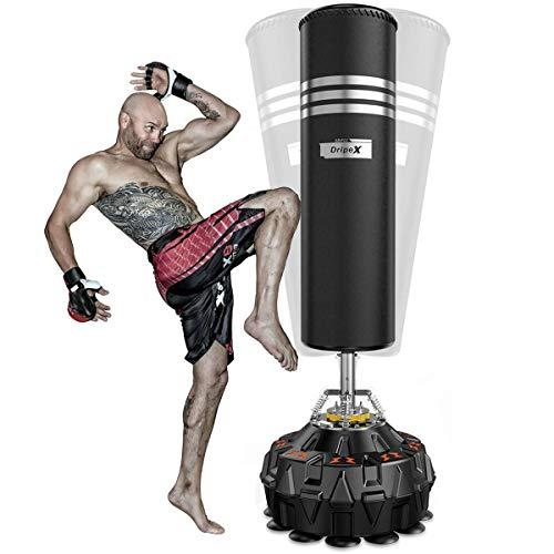 Dripex Boxsack Erwachsene Freistehender Standboxsack MMA Boxpartner Heavy Duty Boxing Bag, ABS Basis mit 18 Saugfuß (178cm/70 Schwarz)