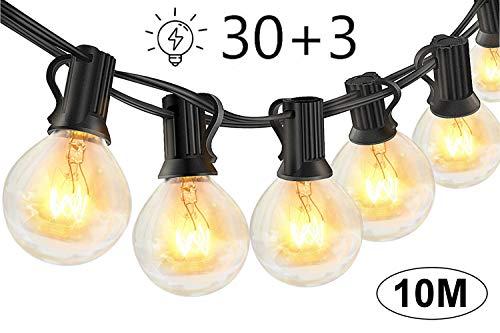 Lichterkette Außen Glühbirnen für Sommerabend - 10M 30 G40 Birnen mit 3 Ersatzbirnen, Lichterketten für Party Garten Balkon und Innen, Warmweiß [Energieklasse...