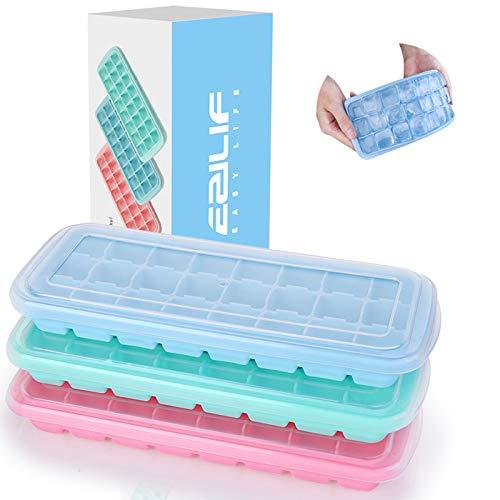 EZILIF Eiswürfelform Silikon mit Deckel 24-Fach 3er Pack, Eiswürfelformen Mit Deckel Ice Cube Tray LFGB Zertifiziert Eiswürfelschalen BPA Frei Eiswürfel einfach...