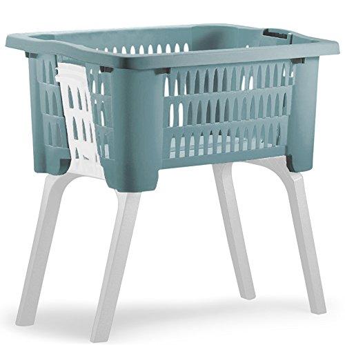 Deuba Wäschekorb mit ausklappbaren Beinen Tragegriffe 38 L Kunststoff Haushalt Waschwanne 60x40x58 cm Waschbehälter Blau
