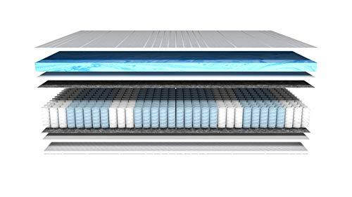 AM Qualitätsmatratzen - Gelschaum-Matratze 90x200cm H3 - Taschenfederkernmatratze Gelschaum 90 x 200 - Matratze mit integrierter 6cm Gelschaum-Auflage - 24cm Höhe...