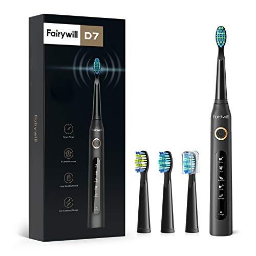 Fairywill Elektrische Zahnbürste Putzen Sie Ihre Zähne wie beim Zahnarzt Schallzahnbürste Eine Aufladung von 4 Stunden hält Min 30 Tage 5 Reinigungs-Modi 2...