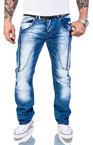 Rock Creek Herren Designer Jeans Hose Dicke Nähte Vintage Herrenjeans Stonewashed Comfort Fit Used Look gerades Bein RC-2011 Blau W34 L34