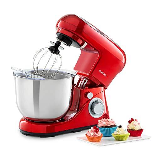 Klarstein Bella Pico 2G Küchenmaschine Rührmaschine, 1200 W / 1,6 PS in 6 Leistungsstufen mit Pulsfunktion, Planetarisches Rührsystem, 5 l Edelstahlschüssel,...