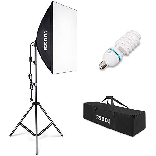 ESDDI Softbox Dauerlicht Fotostudio Set Tageslicht Studioleuchten Kit Fotolicht Soft-Box mit 85W Fotolampe Stativ Tragetasche für Studio-Porträts,...