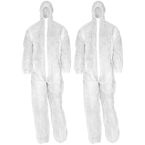 com-four® 2X disposable protective suit in white with hood and zipper, one-size-fits-all overalls for painting and renovation