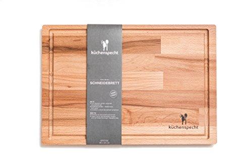 Schneidebrett Holz Gross | Schwebe-Effekt | 35x24x1,7cm mit Saftrille | Antibakterielles Frühstücksbrett aus Europa